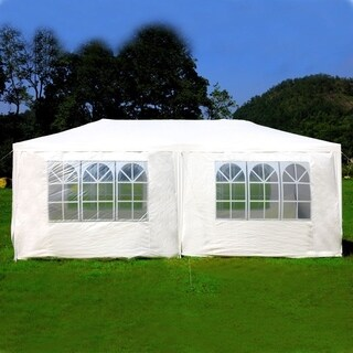 Mcombo 10'x20' Outdoor Canopy Wedding Party Tent 6 Removable Walls - WHITE