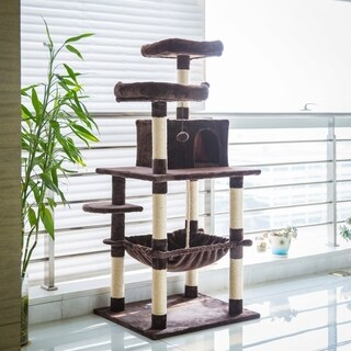 Kinbor Cat Tree Kitten Play House Condo with Hammock Scratching Posts Tower