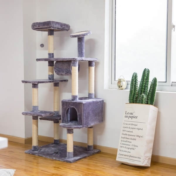 Kinbor Cat Tree Condo Multi-level Kitty Play House Scratching Post Pad Tower