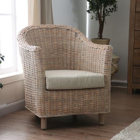 Furniture of America Lali Transitional Kubu Rattan Wicker Armchair