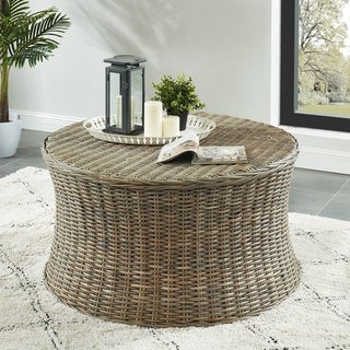 Furniture of America Yali Transitional Brown Rattan Round Coffee Table