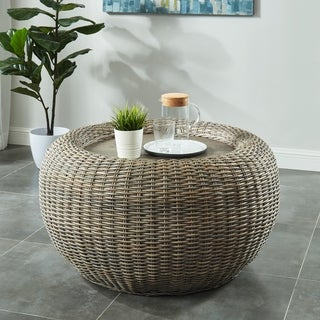 Furniture of America Pali Transitional Brown Rattan Round Coffee Table
