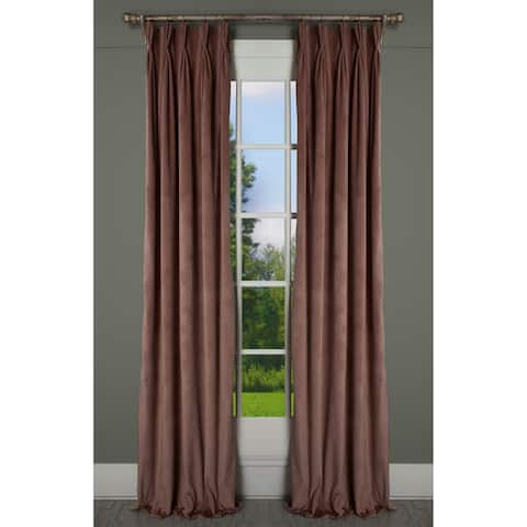 Milan Coral Blush Luxurious Velvet 24-inch Wide Pinch Pleat Lined Curtain Panel