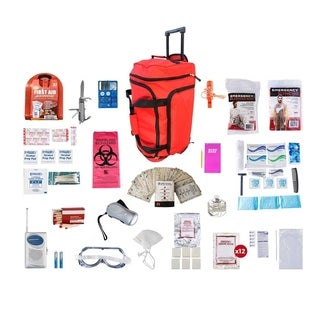 1 Person Deluxe Survival Kit (72 plus Hours) Red Wheel Bag