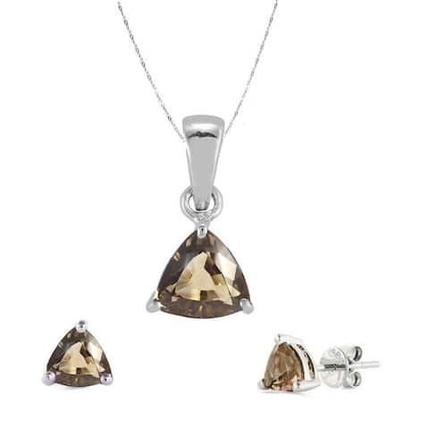Set of Sterling Silver Trillion Cut Pendant and Earring with Natural Smoky Quartz-with 18 Inch Chain