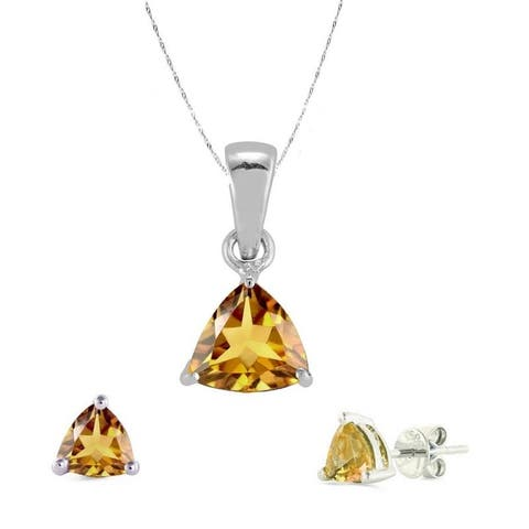 "Set of Sterling Silver Trillion Cut Pendant and Earring with Natural Citrine-with 18"" Chain"