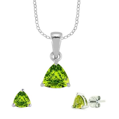 Set of Sterling Silver Trillion Cut Pendant and Earring with Natural Peridot-with 18 Inch Chain