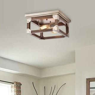 Larissa 2-light Antique Copper Finish Natural Wood Flush-mount