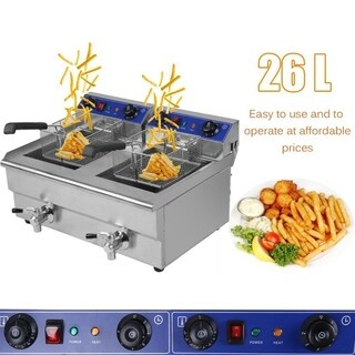 26L 3.3KW Temperature Control Timing Double Container Electric Deep Fryer