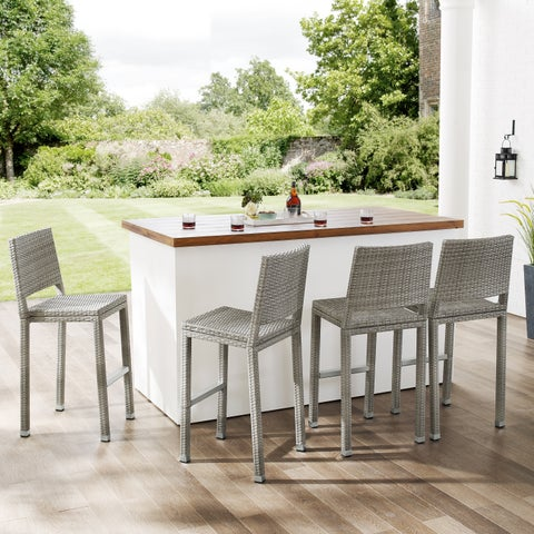 Havenside Home Plymouth Outdoor Modern Patio Aluminum Wicker Bar Stools (Set of 4)