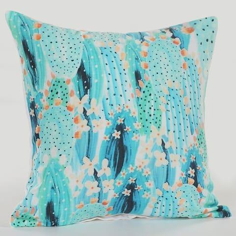 LR Home Sweet Blue Succulent Cotton Throw Pillow 18 inch