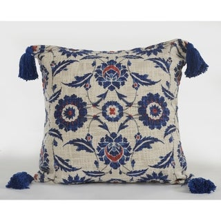 LR Home Tassle Suzani Floral Cotton Decorative Throw Pillow 18 inch