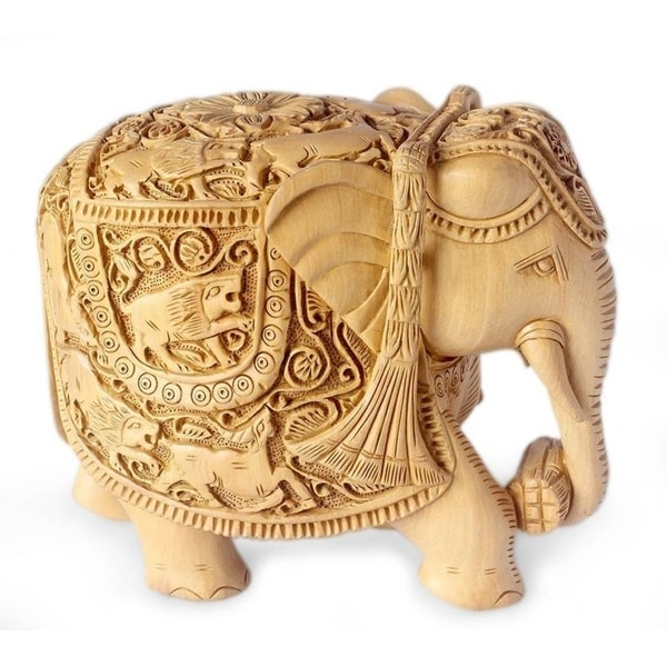 Handmade Elephant Goes Hunting Wood Sculpture (India)