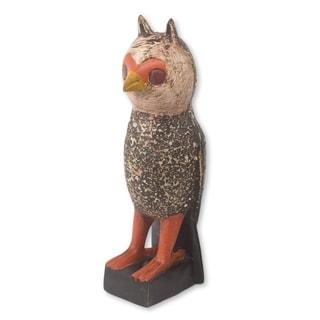 Handmade Owl Courier Wood Sculpture (Ghana)