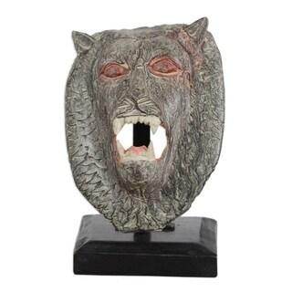 Handmade Lion Head Wood Sculpture (Ghana)