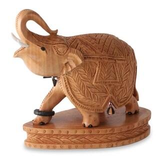 Handmade Stately Elephant Wood Figurine (India)