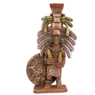 Handmade Aztec Priest Of Maize Ceramic Sculpture (Mexico)