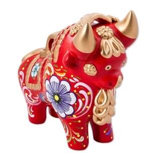 Handmade Big Red Pucara Bull Ceramic Figurine (Peru)
