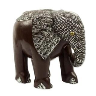 Handmade African Bush Elephant Wood Sculpture (Ghana)