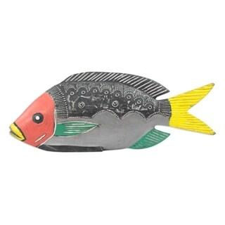 Handmade Textured Fish Wood Sculpture (Ghana)