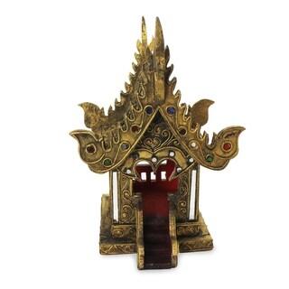 Handmade Lanna Golden Temple Wood Spirit House (Thailand)