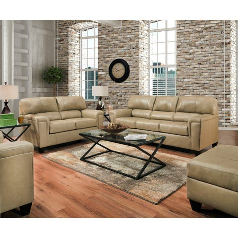 David Top Grain Leather Sofa and Loveseat Set