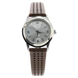 Geneva Womens Leather Brown Watch