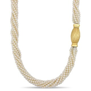 Miadora Cultured Freshwater Pearl Twisted Multi-Stand Necklace with 14k Yellow Gold Clasp (4-5 mm)