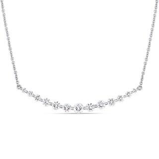 Miadora 14k White Gold 1ct TDW Diamond Curved Bar Necklace