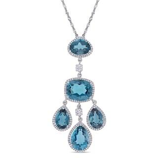 Miadora 18k White Gold 22-1/4ct TGW London Blue-Topaz 1ct TDW Diamond Dangle Necklace