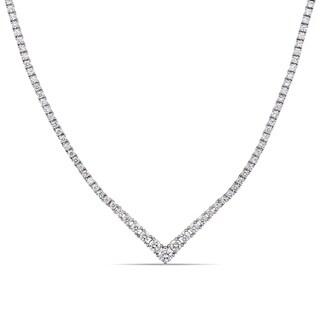 Miadora 18k White Gold 3-7/8ct TDW Diamond Graduated Tennis Necklace