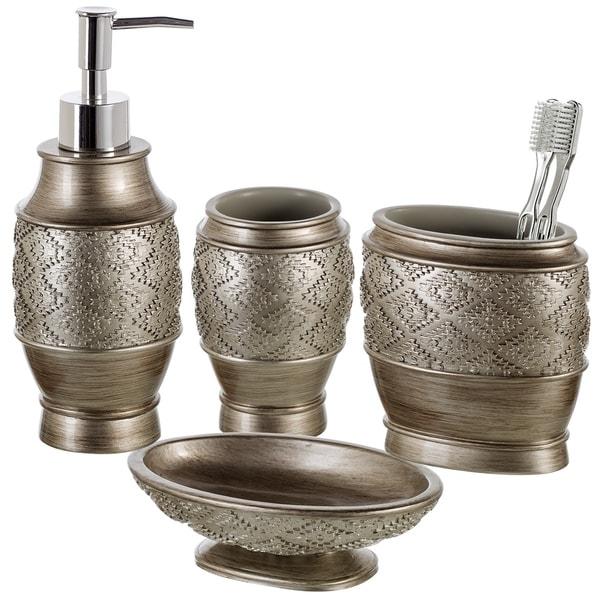 Dublin 4-Piece Bathroom Accessories Set (Brushed Silver)