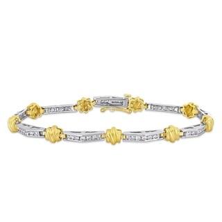 Miadora 2 Tone 14k White And Yellow Gold 1ct TDW Diamond Station Tennis Bracelet