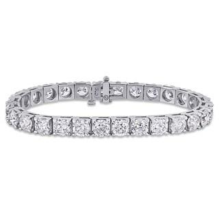 Miadora 14k White Gold 21ct TDW Diamond Tennis Bracelet