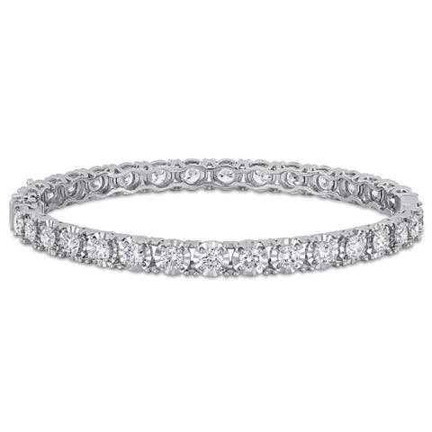 Miadora 14k White Gold 6 1/2ct TDW Diamond Tennis Bangle