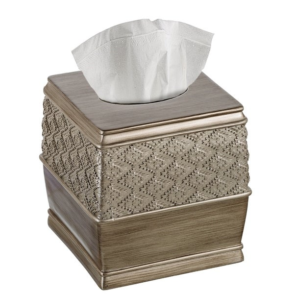 Dublin Square Tissue Box Cover (Brushed Silver)