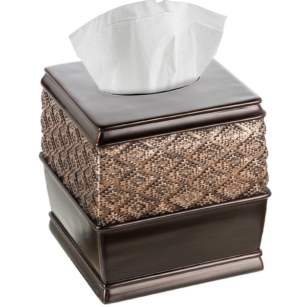 Dublin Square Tissue Box Cover Brown