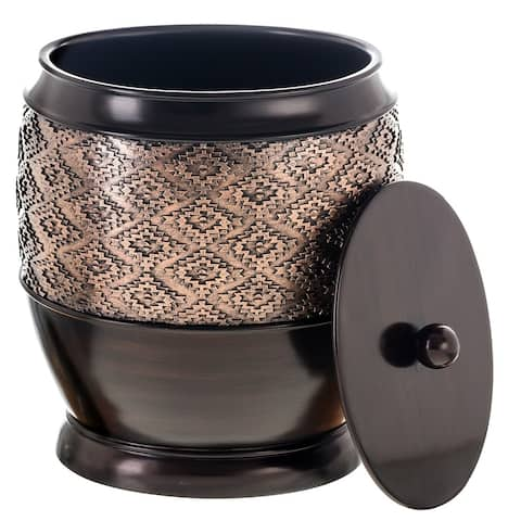 Dublin Small Trash Can with Lid (Brown)