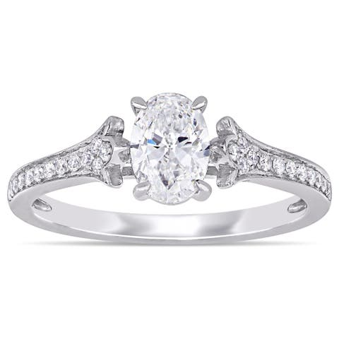 Miadora 14k White Gold 4/5ct TDW Oval and Round-Cut Diamond Engagement Ring