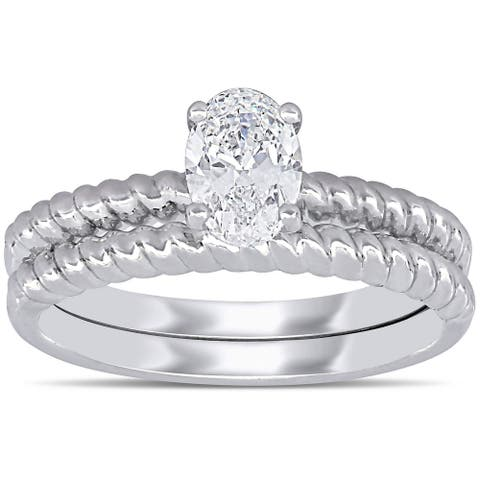 Miadora 14k White Gold 3/4ct TDW Oval-Cut Diamond Solitaire Twisted Band Bridal Ring Set