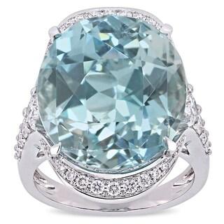 Miadora 14k White Gold 23-3/8ct TGW Sky-Blue Topaz and 1ct TDW Diamond Elevated Cocktail Ring
