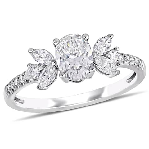 Miadora 14k White Gold 1 1/7ct TDW Diamond Floral-Inspired Engagement Ring