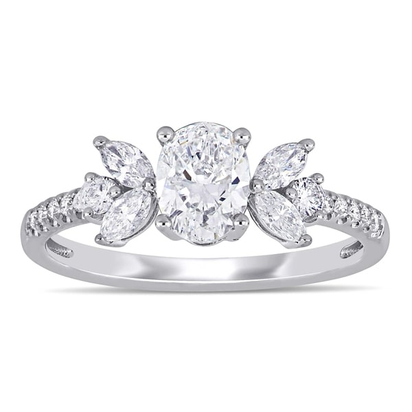 a84552652e275 Shop Miadora 14k White Gold 1 1/7ct TDW Diamond Floral-Inspired ...