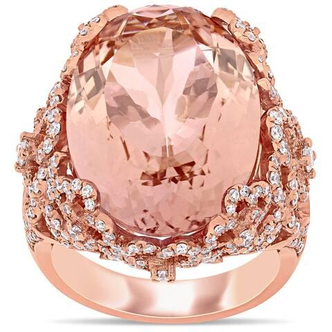 Miadora 14k Rose Gold 16 3/8ct TGW Morganite 1-3/8ct TDW Diamond Flower Cluster Cocktail Ring