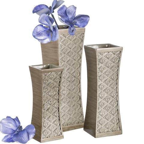 Dublin Flower Vase Set of 3 (Broshed Silver)
