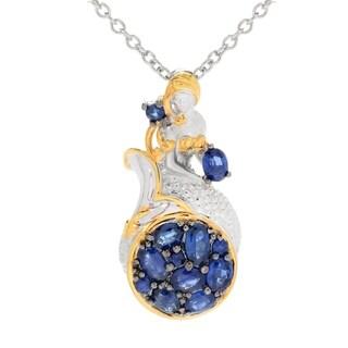 Michael Valitutti Palladium Silver Royal Blue Sapphire Mermaid Cluster Pendant