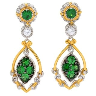Michael Valitutti Palladium Silver Tsavorite Garnet & White Zircon Drop Earrings