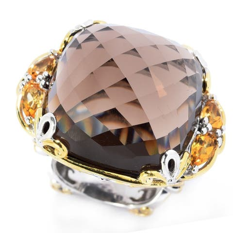 Gems en Vogue Palladium Silver Cushion Smoky Quartz & Citrine Domed Cocktail Ring