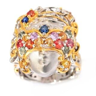 Michael Valitutti Palladium Silver Multi Sapphire Venetian Masquerade Ring