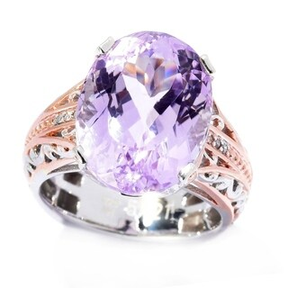 Michael Valitutti Palladium Silver Kunzite & Diamond Limited Edition Cocktail Ring